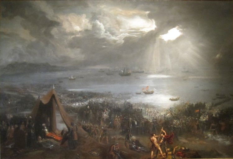 'Battle of Clontarf', oil on canvas painting by Hugh Frazer, 1826