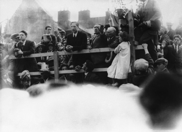 Eamon de Valera, addressing a meeting in Ennis just before his arrest in a 1923 photo. (AP Photo)