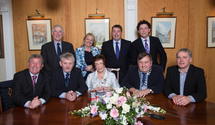 Elected members of Ennis Town Council at last meeting ever of Ennis Town Council May 6th  2014 Front row l-r Cllr Michael Guilfoyle, Cllr Tommy Brennan, Mayor of Ennis Cllr Mary Coote Ryan, Deputy Mayor of Ennis Cllr Frankie Neylon, Cllr Brian Neylon Back row l-r Cllr Peter Considine, Cllr Mary Howard, Cllr Paul O' Shea, Cllr Johnny Flynn Photograph Paschal Brooks