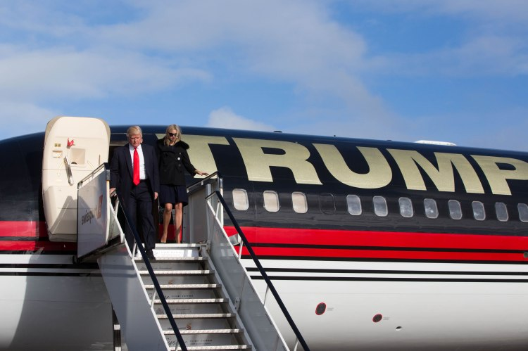 Mr Trump and daughter Ivanka are pictured after landing from his personally customised 757 at Shannon Airport.  Pic Sean Curtin Photo.