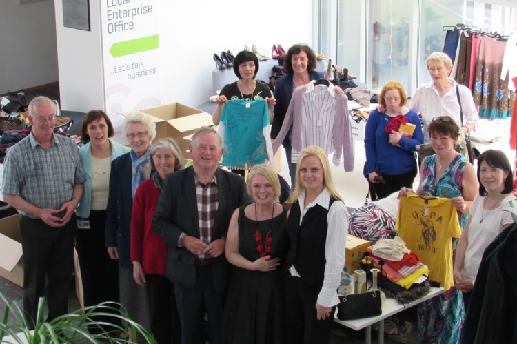 Sr. Neylon pictured third from left at recent upcycling event in Ennis