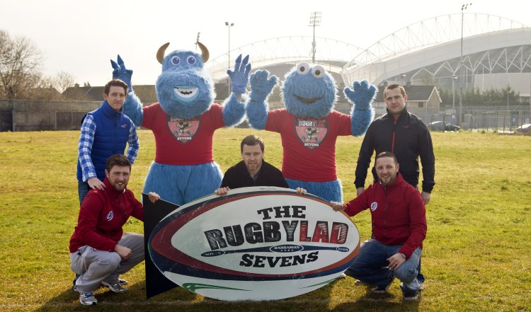 Former Ireland and Munster rugby player Marcus Horan, and local club rugby stars Paul O'Brien and Paudie McMahon participated in the launch of the inaugural RugbyLAD Sevens Festival which takes place this weekend in the Limerick Institute of Technology (LIT) sports grounds in Moylish, located in the shadows of Thomond Park. Also pictured is event organisers Jason Hennessy and David Hennessy.