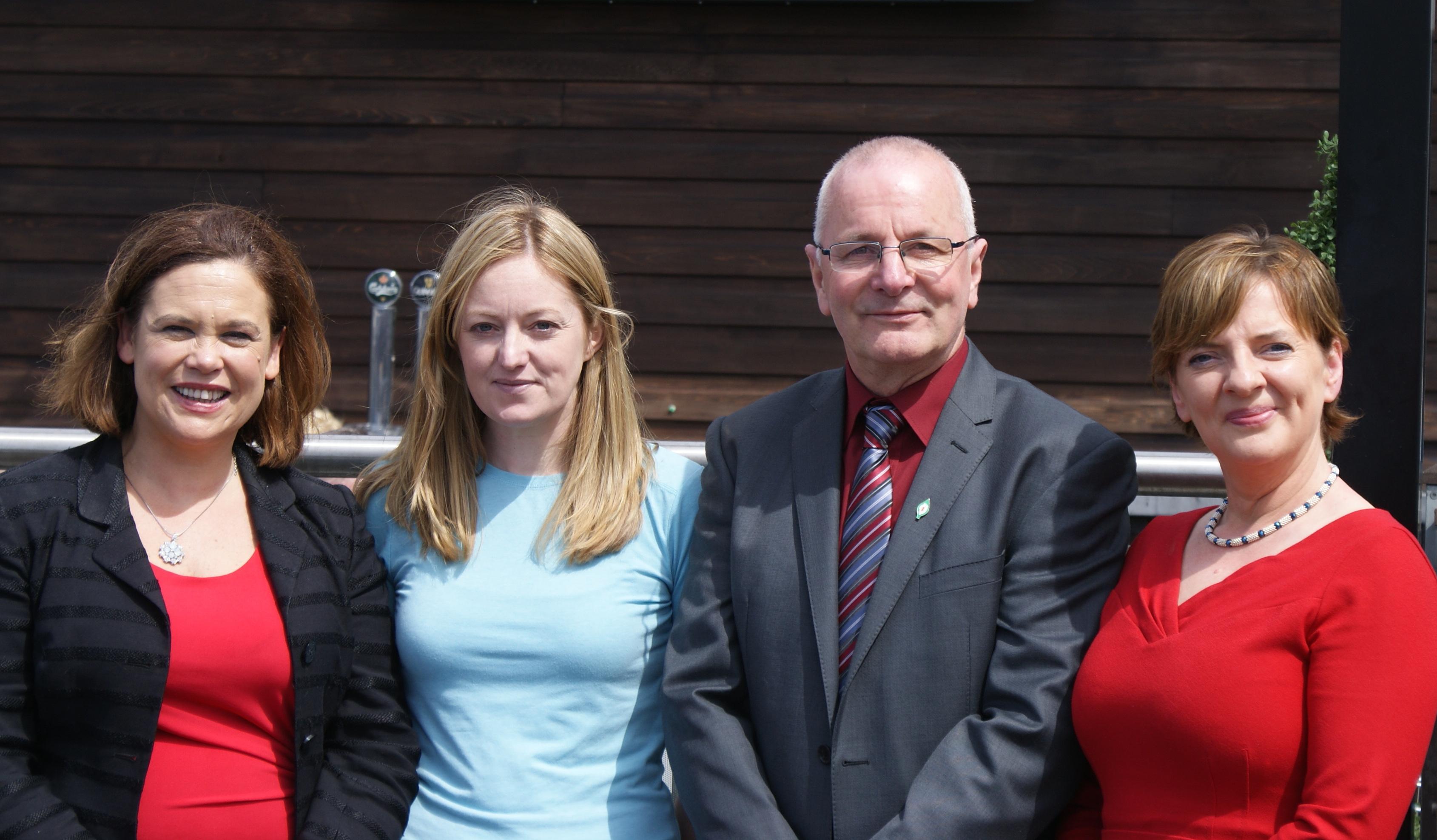 (L-R):Mary Lou McDonald, Noeleen Moran, Mike McKee and Liadh Ní Riada in Shannon.