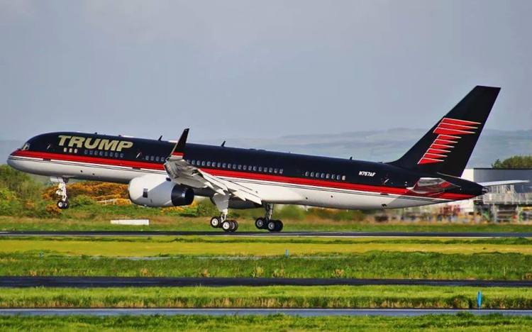 Donald Trump and his Boeing 757-200 (n757af) touching down on a sunny Monday morning at Shannon Airport. Image submitted by Brian Buckley.