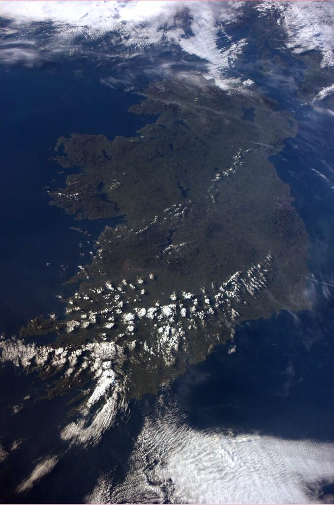 Reid Wiseman, a US Navy Commander from Maryland, tweeted this photo of Ireland from the ISS yesterday