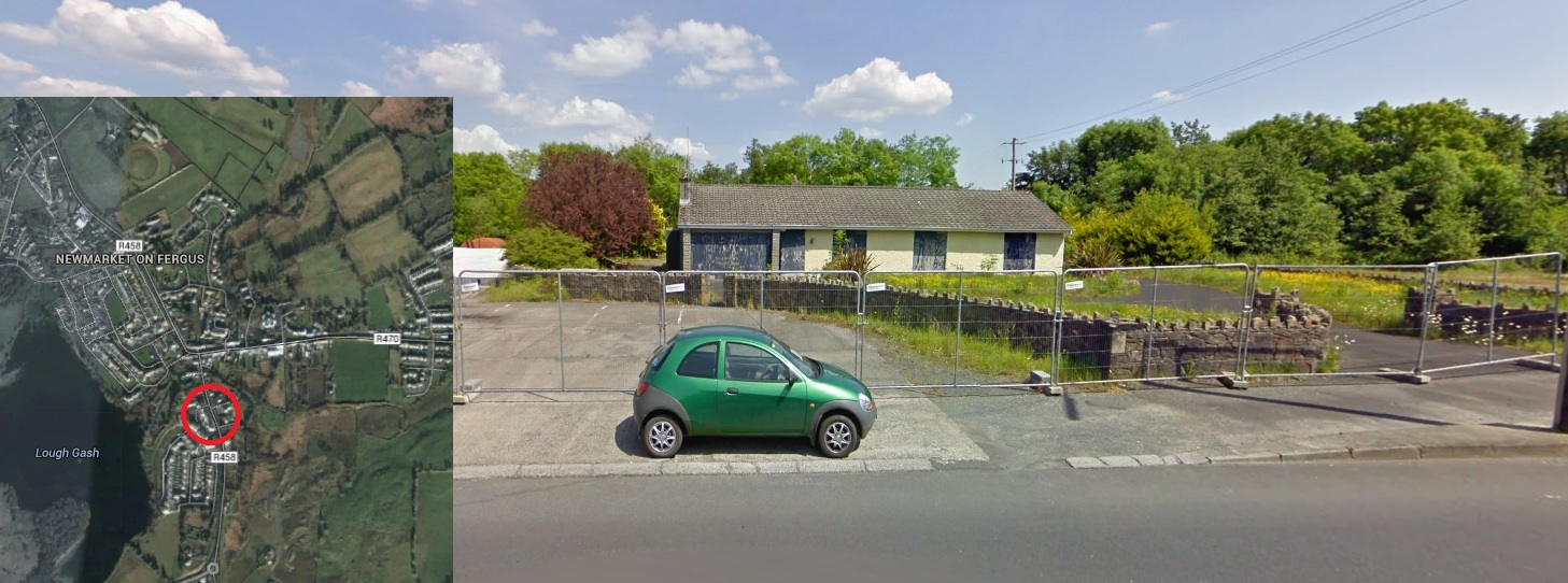 A Google StreetView image of the house before last night's fire. Location of fire (inset).