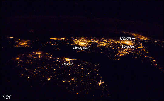 Ireland and Britain as seen from the ISS at night