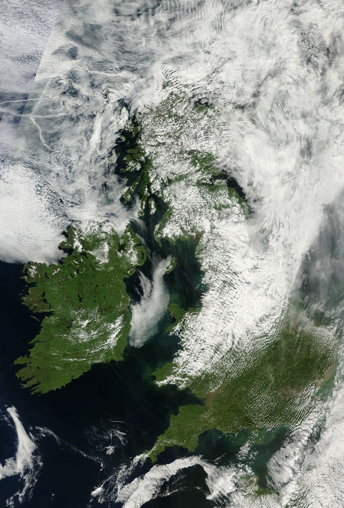 Ireland and Britain as photographed by NASA's MODIS satellite at 1pm yesterday