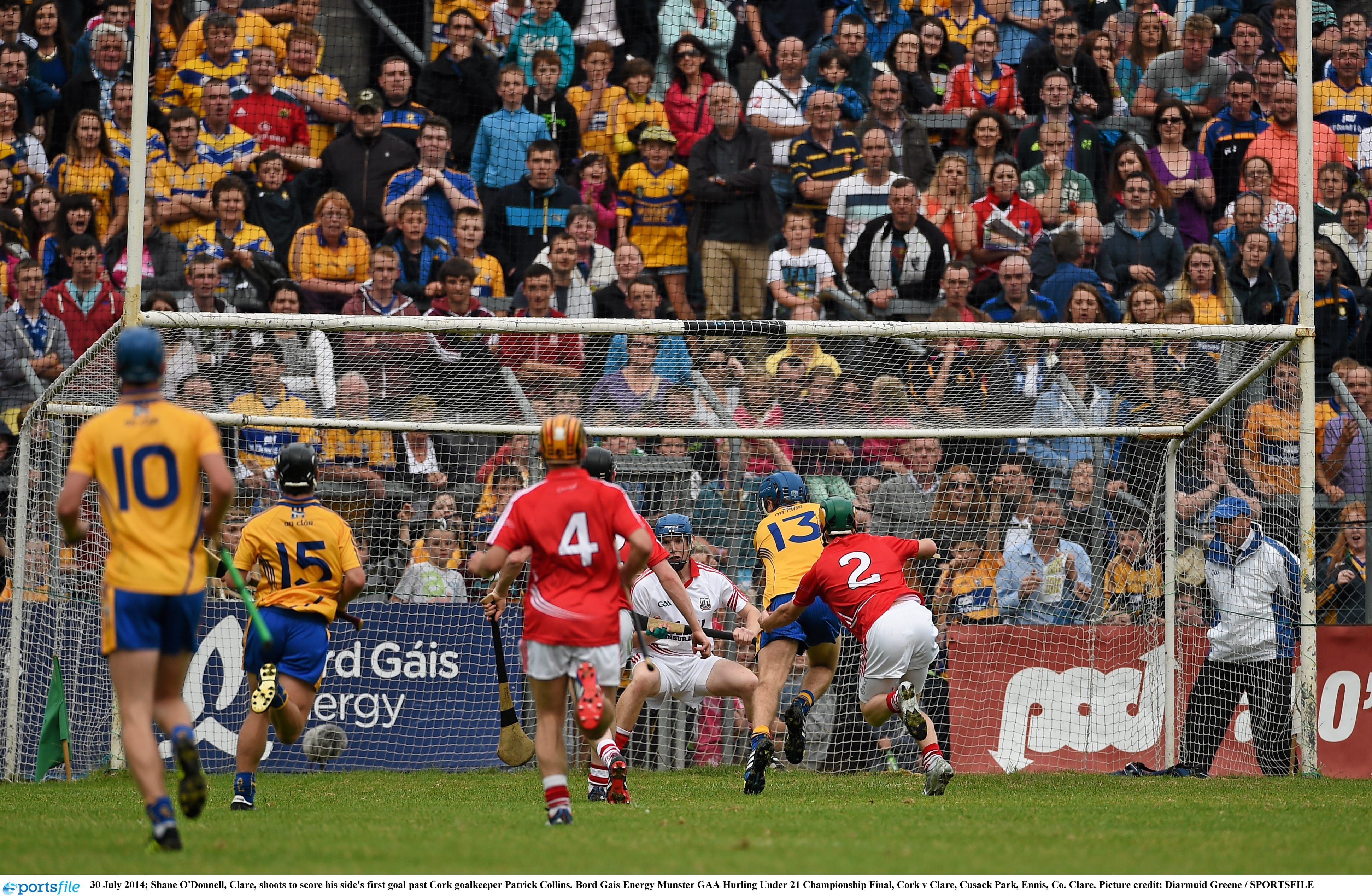 hane O'Donnell, Clare, shoots to score his side's first goal past Cork goalkeeper Patrick Collins. Bord Gais Energy Munster GAA Hurling Under 21 Championship Final, Cork v Clare, Cusack Park, Ennis, Co. Clare. Picture credit: Diarmuid Greene / SPORTSFILE