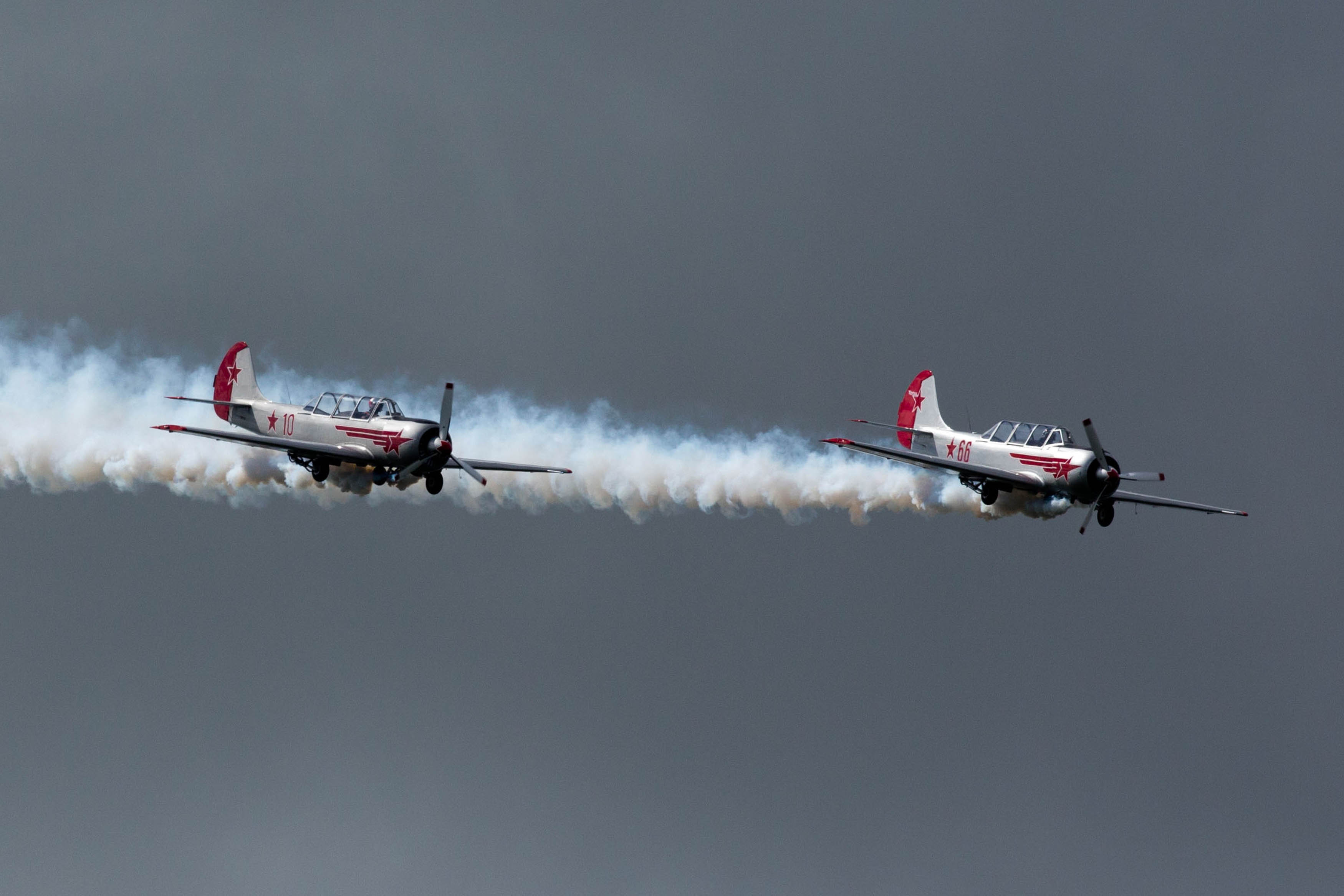 The Yak Team take part in the main airshow as 15,000 turned up for the centrepiece of the celebrations involving up 30 different aircraft.  Pic Sean Curtin Fusionshooters.