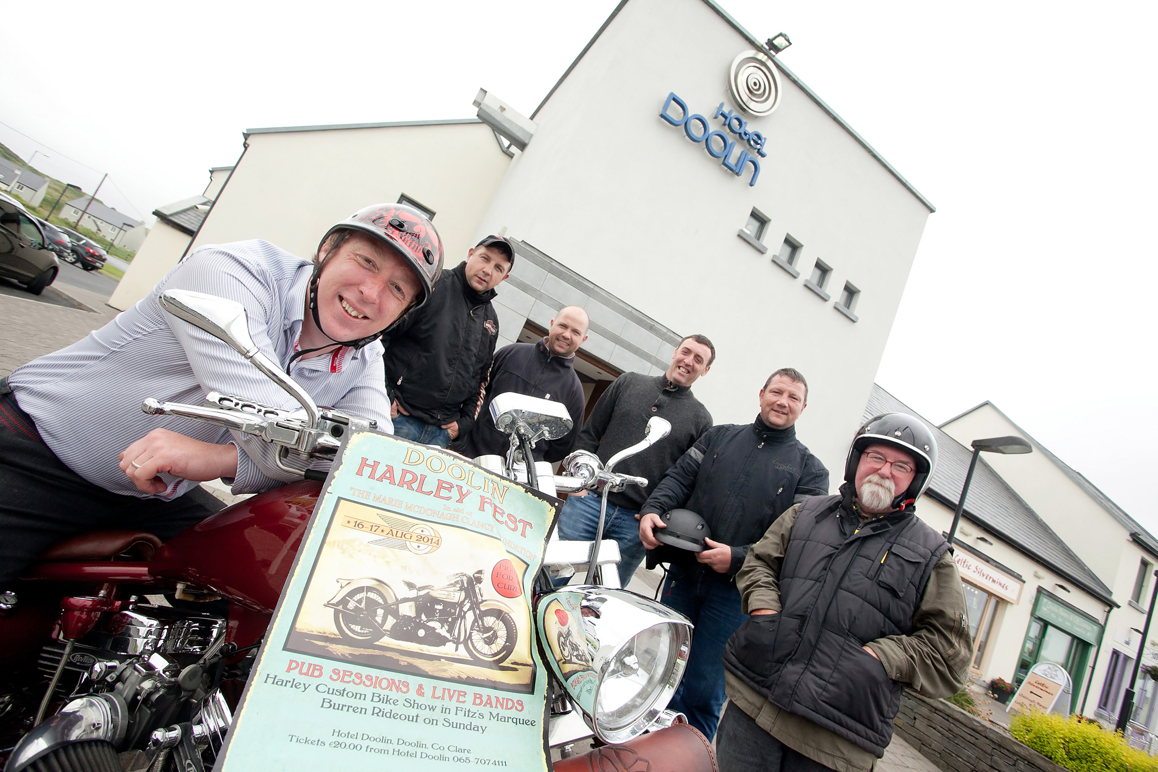 Donal Minihane-general manger of Hotel Doolin gets a feel for the wheels with organisers Mark Clancy, John Clancy, John McDonagh, James Clancy and Jimmy Boyle ahead of the Doolin Harley Fest on 16th and 17th of August in aid of the Marie McDonagh Clancy Foundation. Photograph by Yvonne Vaughan