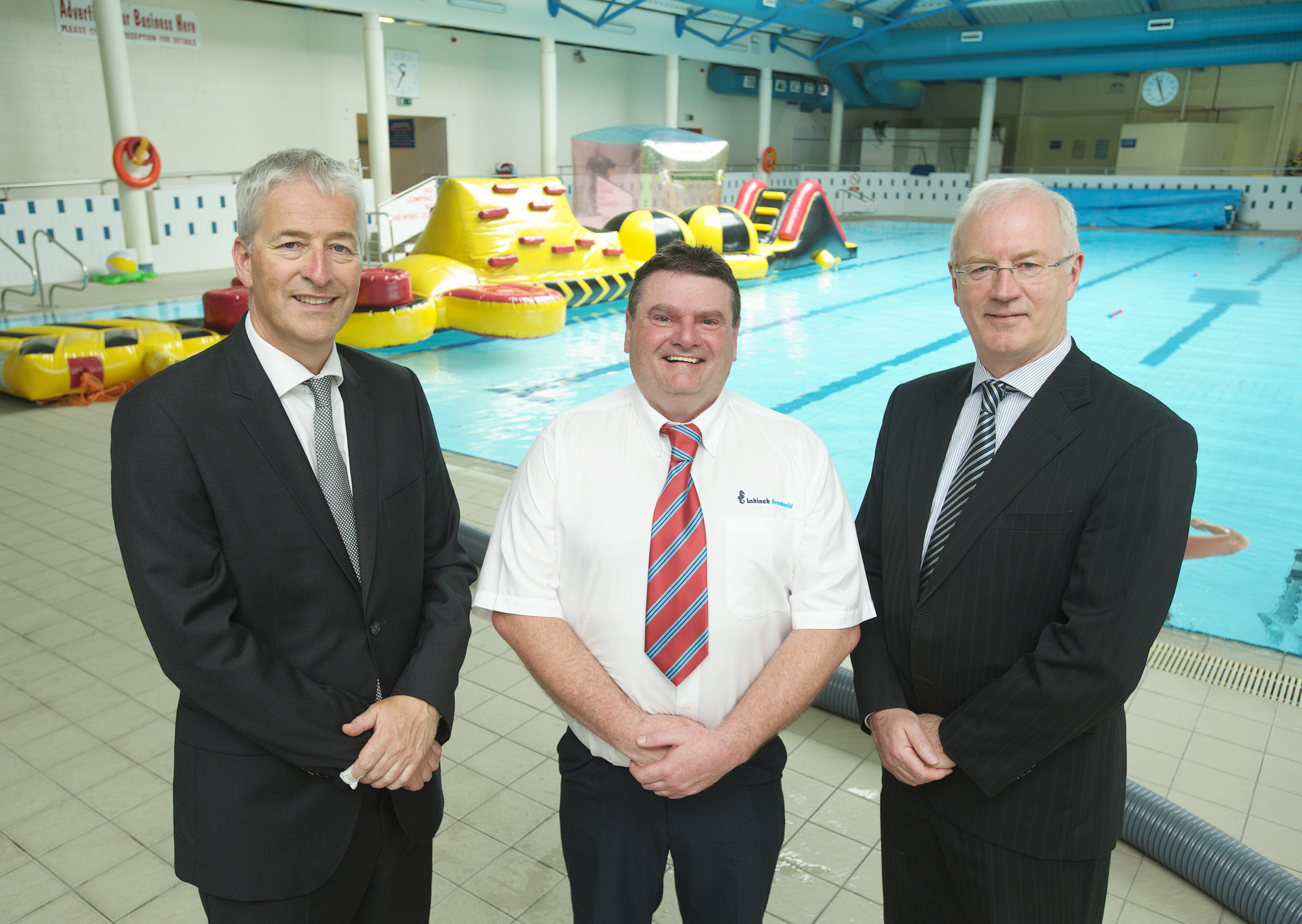 Photographed at Lahinch Seaworld are John Sheehy, Head of Claims and Senior Executive Liberty Insurance and John McDevitt, Marsh Brokers with Joe Garrihy, manager Lahinch Seaworld, centre.