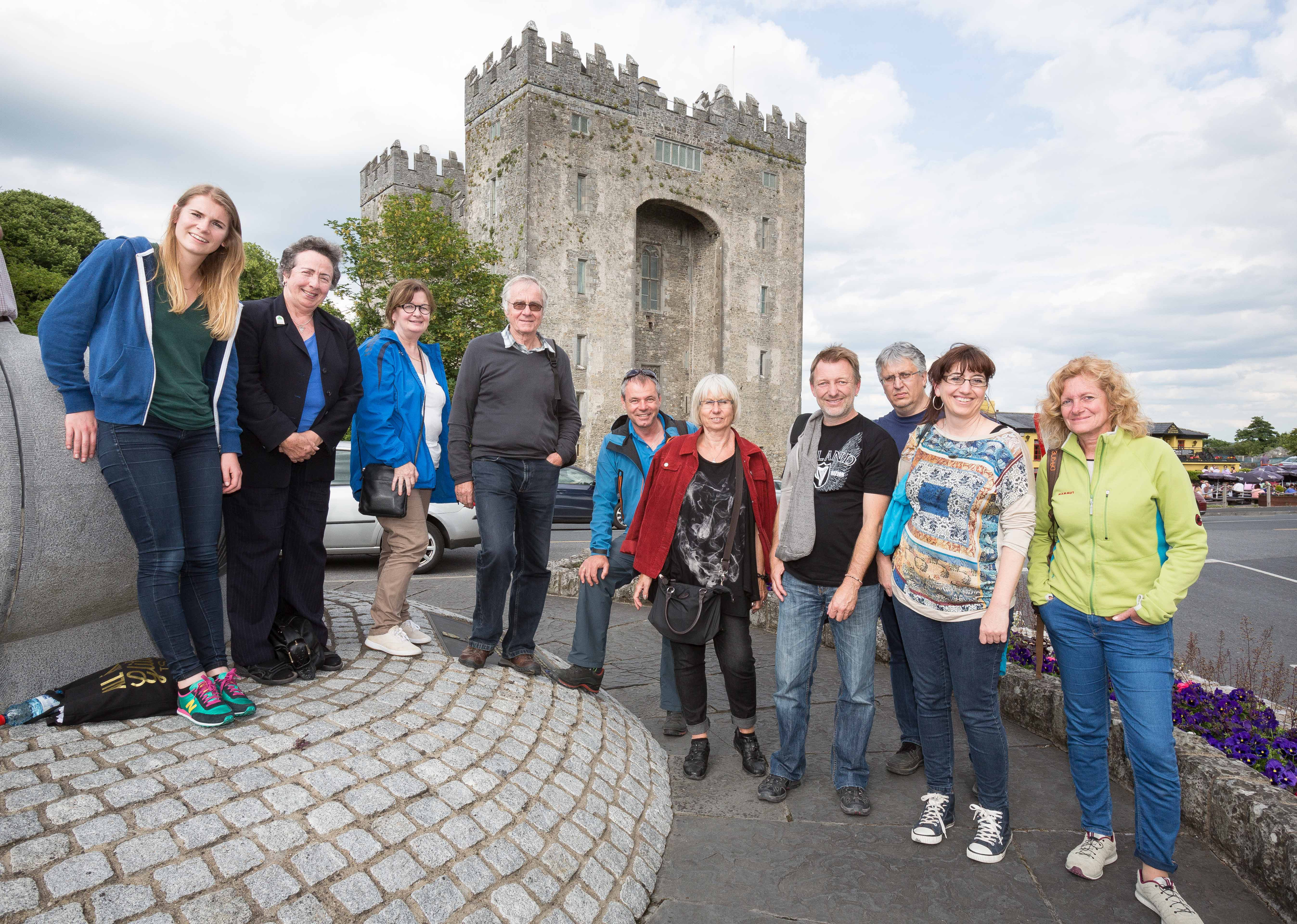 German journalists at Bunratty Castle with Aifric Campbell, Tourism Ireland. Pic – Eamon Ward