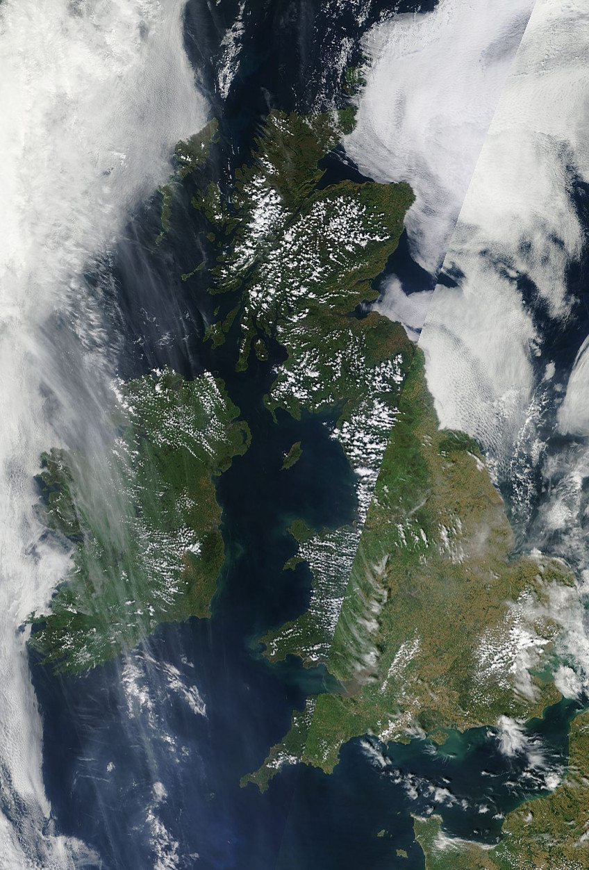 A satellite view of Ireland and  Britain at 1pm today. IMAGE MODIS
