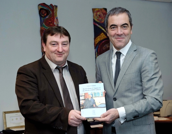Liam Campbell presented a copy of his book, The Ecological Augury in the Works of JRR Tolkien, to James Nesbitt, the Northern Irish actor who plays the dwarf Bofur in Peter Jackson's The Hobbit movie.