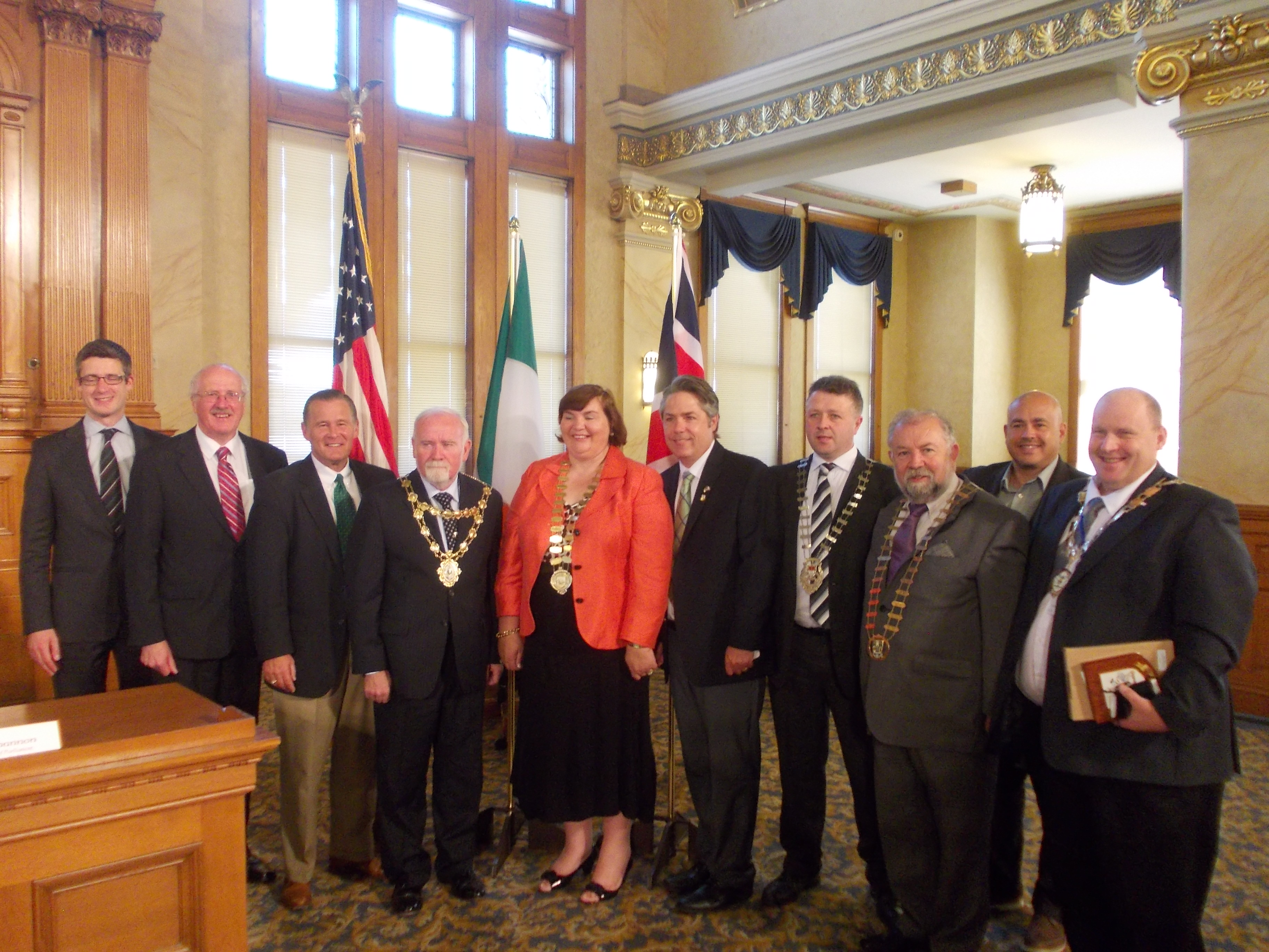 At a civic reception in Milwaukee City Hall to mark the opening of Irish Fest 2014 were (l to r) Nicholas Michael, Deputy Consul General of Chicago; Jim Shannon Member of Parliament, Westminster; Alderman Bob Donovan, Milwaukee Council, Cllr. Donal Lyons, Mayor of Galway City, Cllr. Mary Hoade, Cathaoirleach, Galway County Council; Alderman Michael Murphy, Milwaukee City Council; Cllr Damien Ryan, Mayo County Council; Cllr. John Crowe, Cathaoirleach, Clare County Council; Alderman Jose Perez, Milwaukee Council and Cllr Gregg McKeen, Deputy Mayor Larne Borough Council