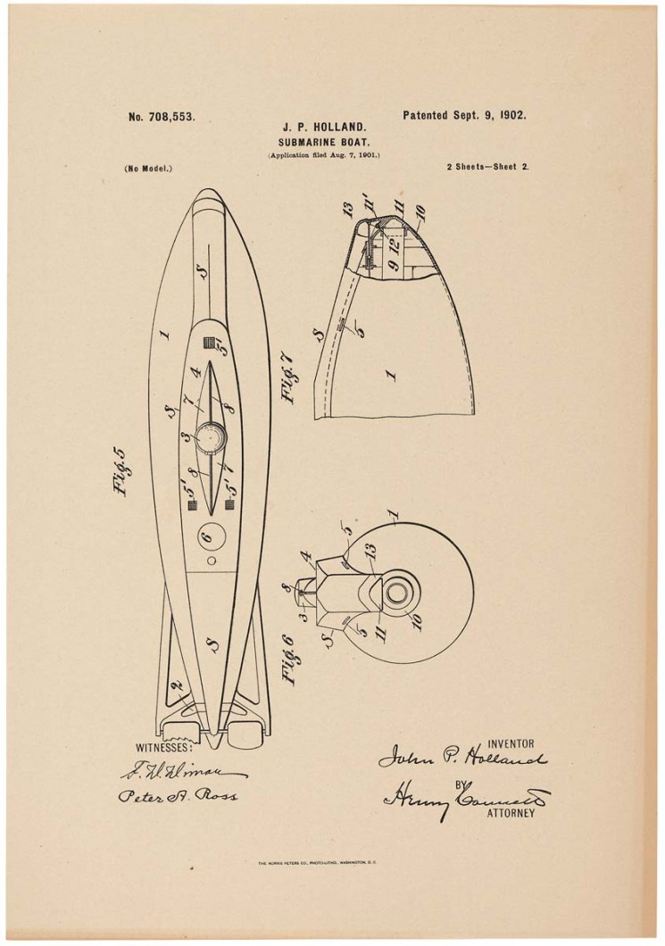 Inventor John P. Holland submitted this drawing of a submarine boat to the United States Patent Office in support of his application for a patent