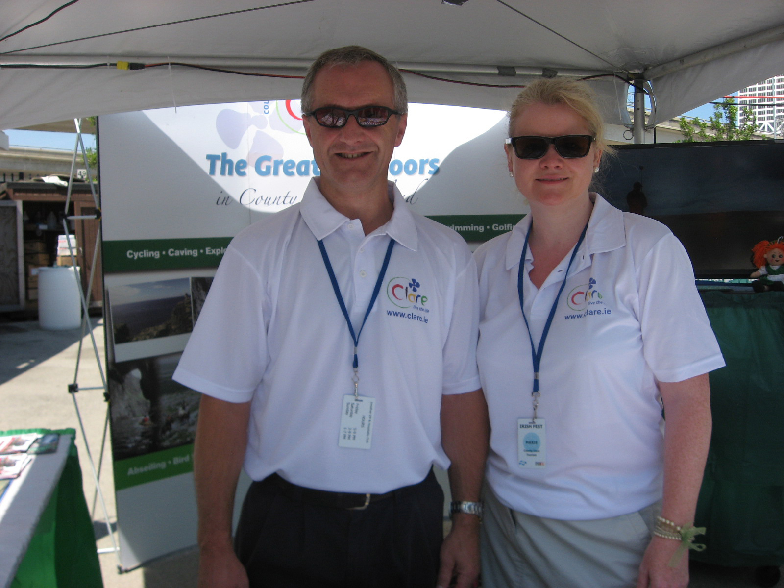Eugene Maher, ShannonFerry Group (based in Kilrush), and Marie Brennan, Shannon Heritage, at this year's Milwaukee Irish Fest in Wisconsin.