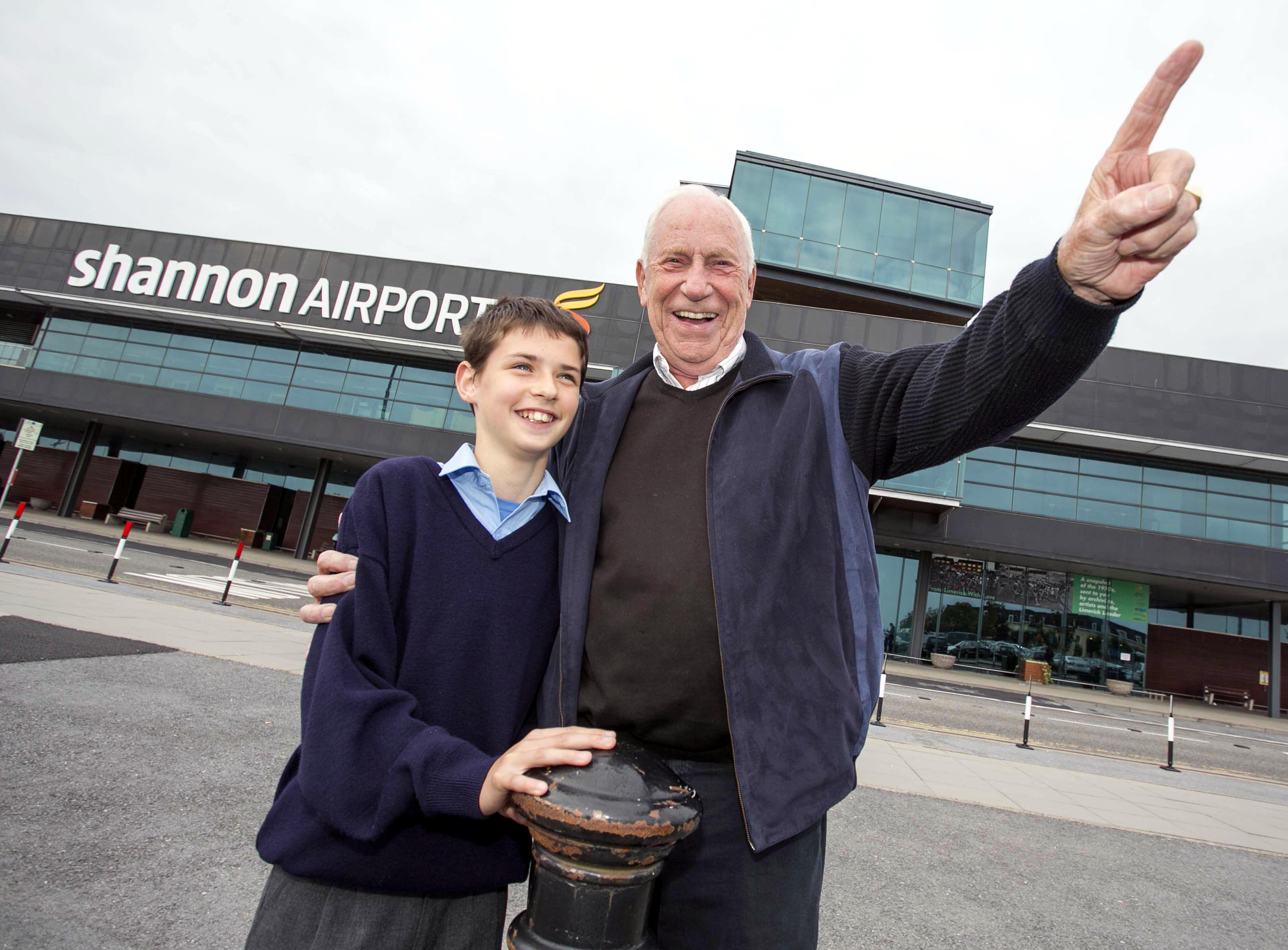 Al Worden photographed with space enthusiast, Alex Cronin (12) from Feakle Co Clare outside arrivals at Shannon Airport yesterday. Photo Arthur Ellis.