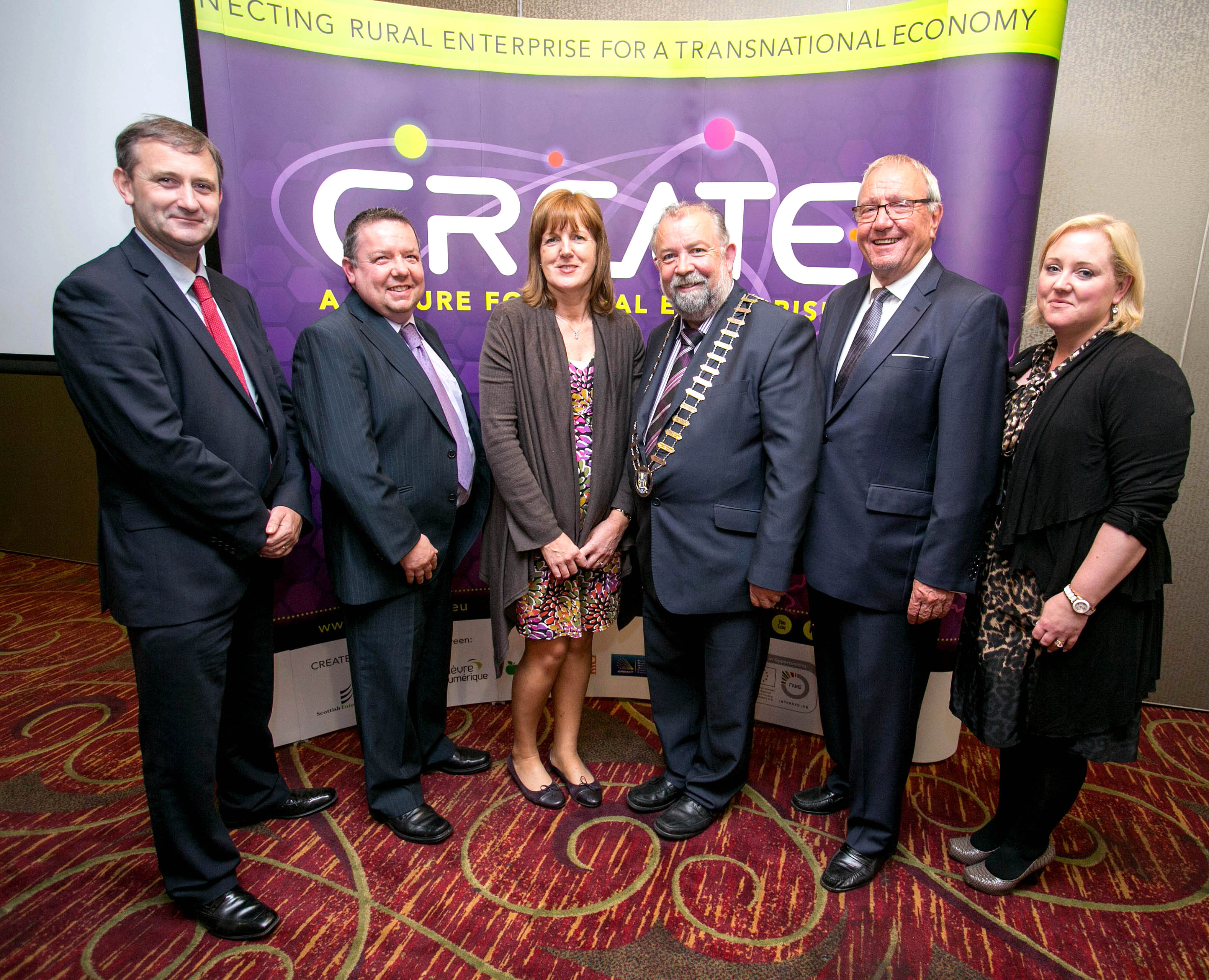 Pictured at the launch of the Create App in Ennis: L-R Anthony Coleman, SERA Mid-West Office; Finbar Tuohy, Clare LEO office; Betty Devaney, Clare LEO office; Cathaoirleach Cllr. John Crowe; Cllr. Graham Powell, Hereford, UK; Sinead Dixon, Clare LEO office.Pic Arthur Ellis.