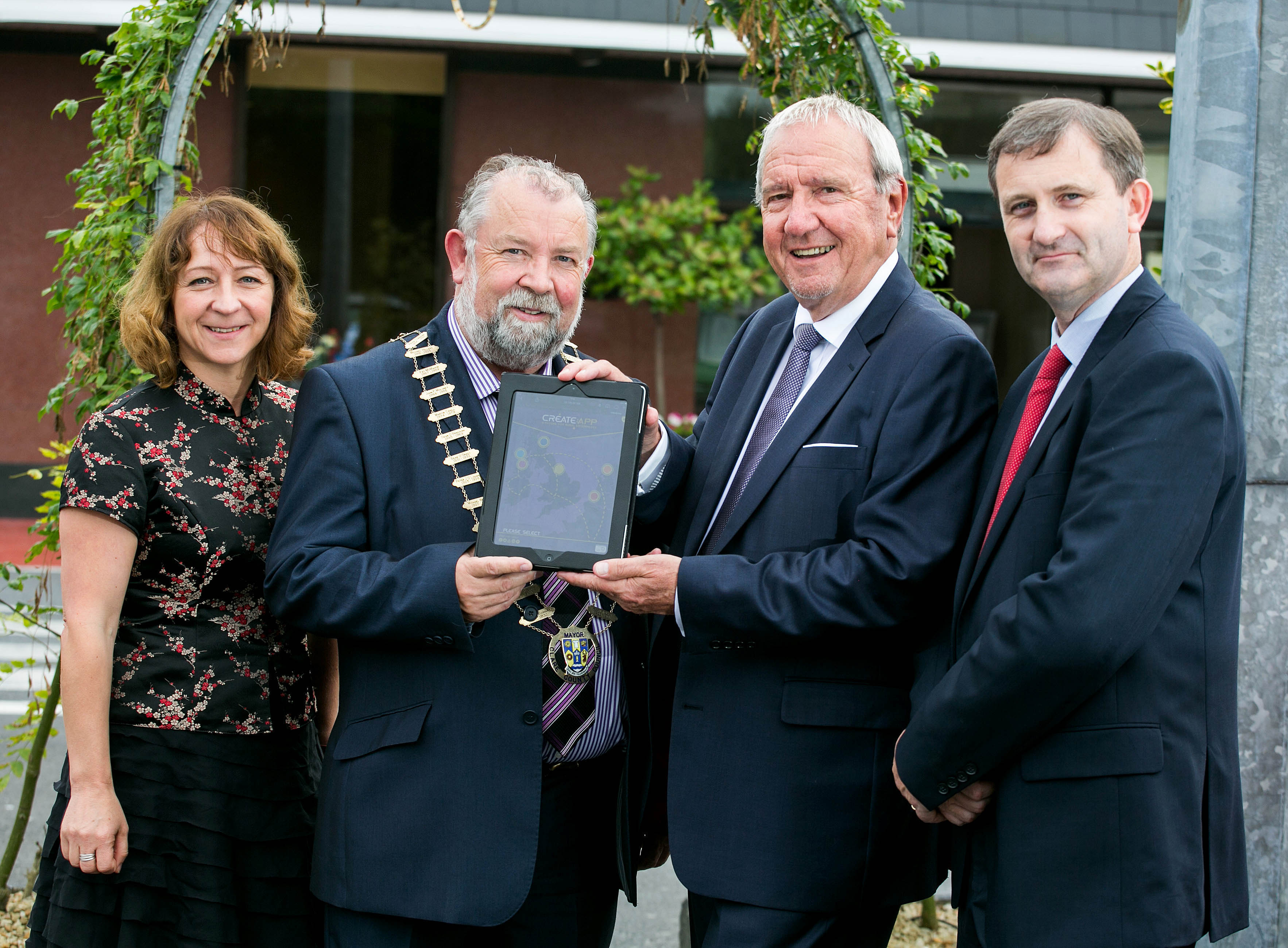 Pictured at the launch of the Create App in Ennis: L-R Natalia Silver, hereford Council,UK,     ,Cathaoirleach of Clare  Cllr. John Crowe ,Cllr. Graham Powell, Hereford, UK and Anthony Coleman, SERA Mid-West Office .Pic Arthur Ellis.