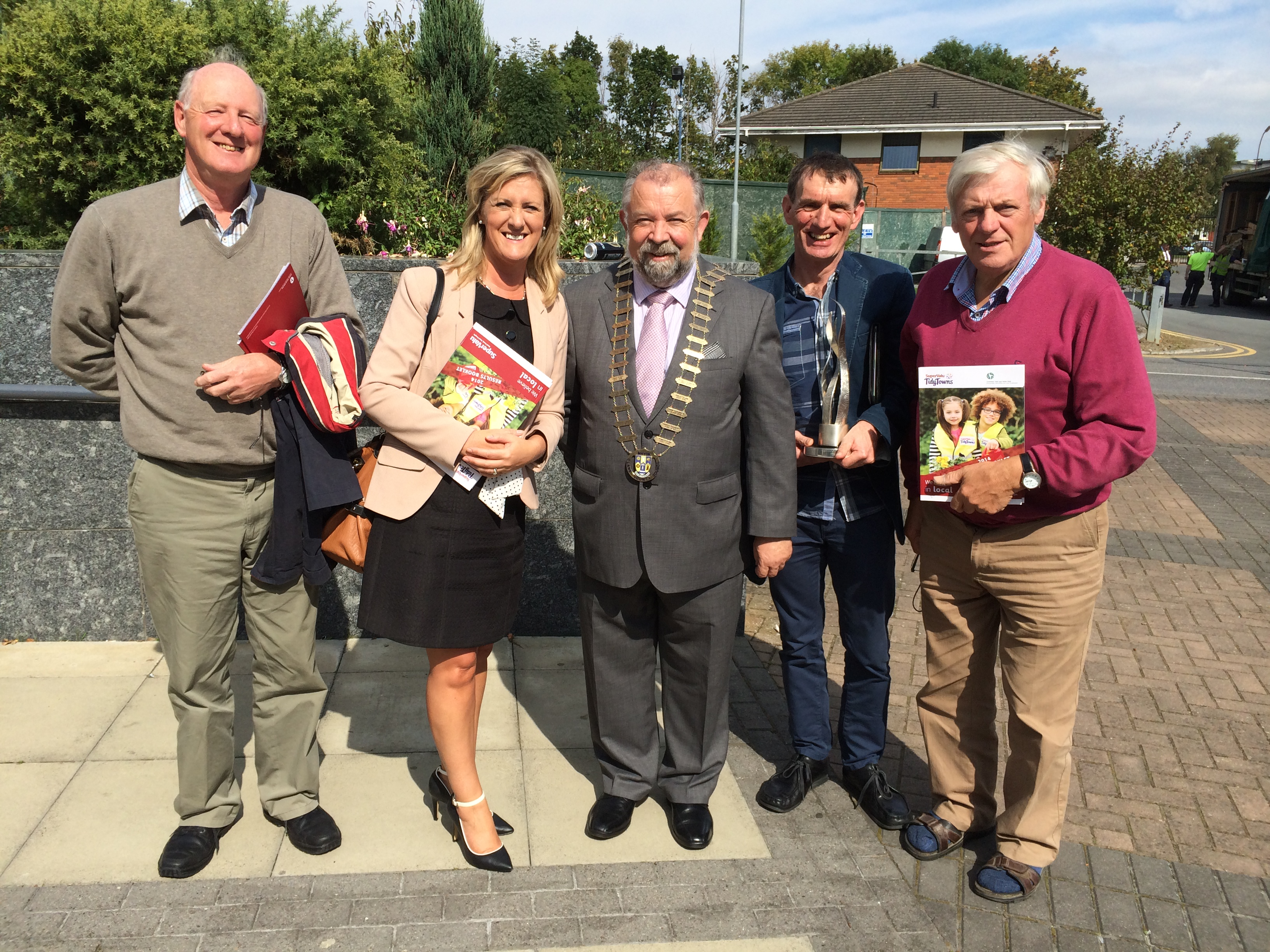 Pictured outside The Helix in Dublin following today's National TidyTowns Ceremony (L-R):  Sean Moran, Kilrush Tidy Towns; Anne Haugh, Area Co-Ordinator, West Clare MD & Director of Service, Clare County Council; John Crowe, Cathaoirleach of Clare Co Council; Paul Edson, Chairperson, Kilrush Tidy Towns; and Murt Collins, Kilrush Tidy Towns.