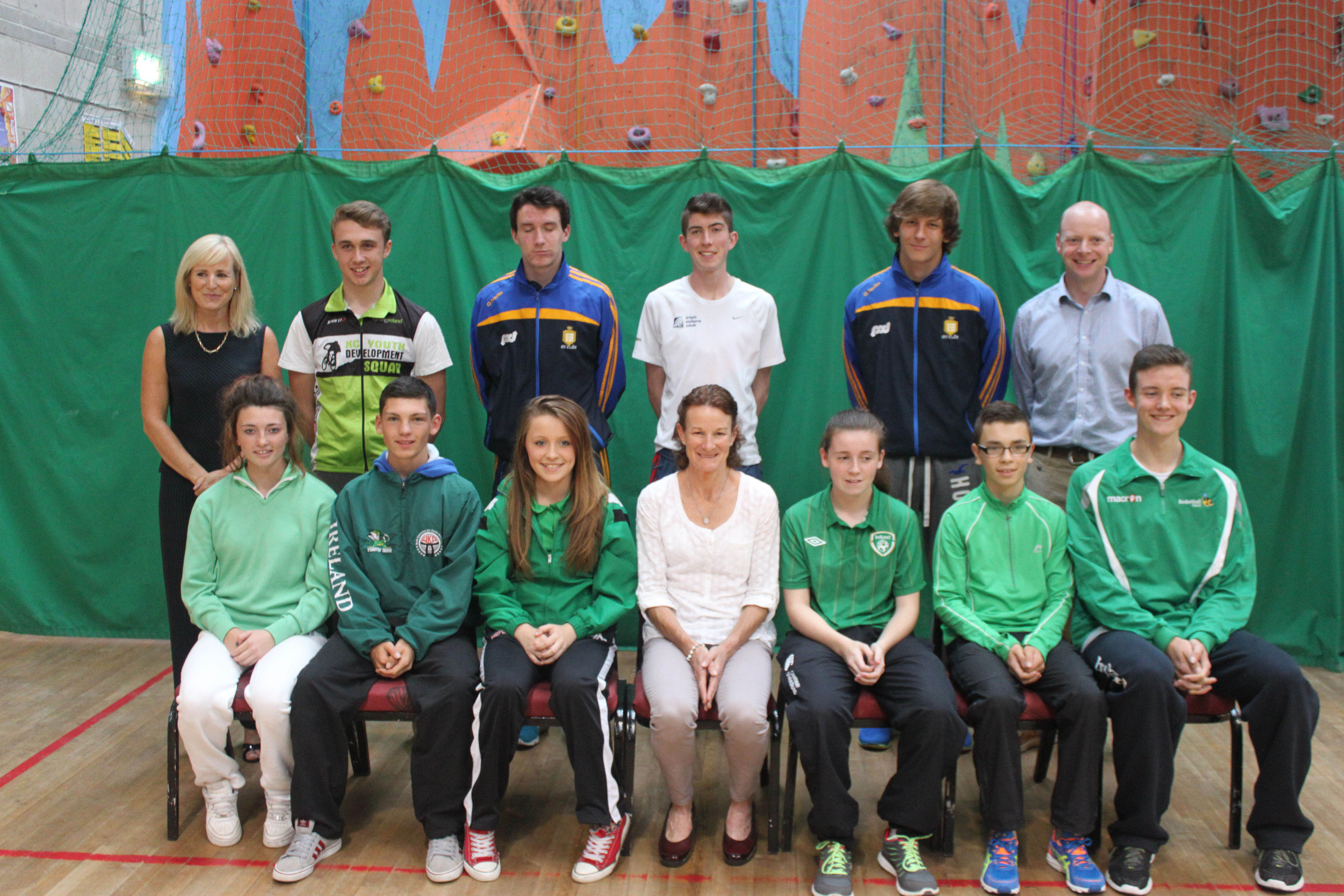 Pictured at the launch of the Shannon High Performance Academy (Back L-R): Eavan McCarthy,  (Shannon Swimming & Leisure Centre); James Hanrahan (Mountain Biking); Ben O Gorman (Hurling); Karl Fitzmaurice (Athletics); Aron Shanagher (Hurling); John Sweeney (Clare Sports Partnership). (Front l-r): Lisa O'Shea (Golf); Liam Alford (Kickboxing);Joanne Potter (Taekwan-Do); Sonia O'Sullivan; Sabrina McCarthy (Soccer); Gearoid McMahon (Athletics); and Tommy Walsh (Basketball).
