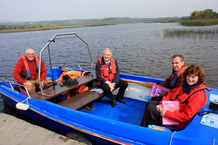 Ger Madden, Holy Island Tours; Niall Moore, Waterways Ireland; Gerard Dollard, Clare County Council; and Dawn Livingstone, CEO, Waterways Ireland arriving at Holy Island during a visit to the Lough Derg island. Photograph by Gordon Daly
