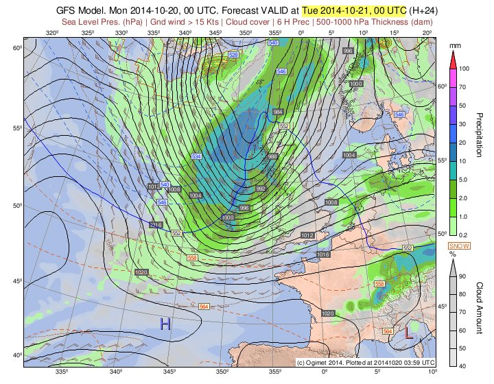 An ogimet.net GFS chart for Monday night showing strong winds and heavy rain sweeping across Ireland