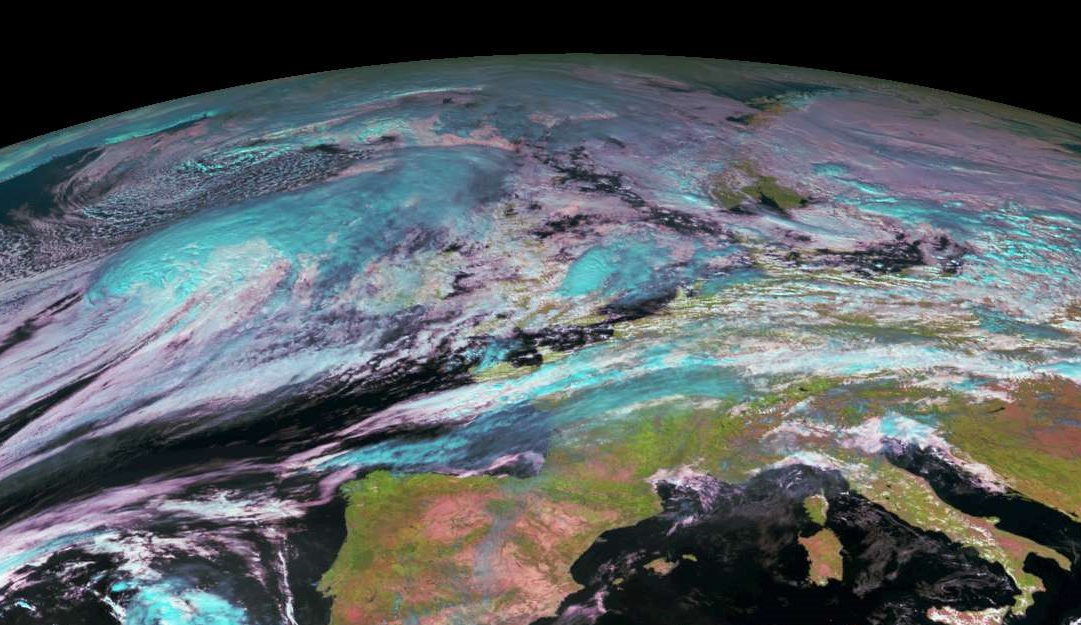 Gonzalo, located to the west of Ireland, visible in this RGB Satellite image from EUMETSAT at midday today