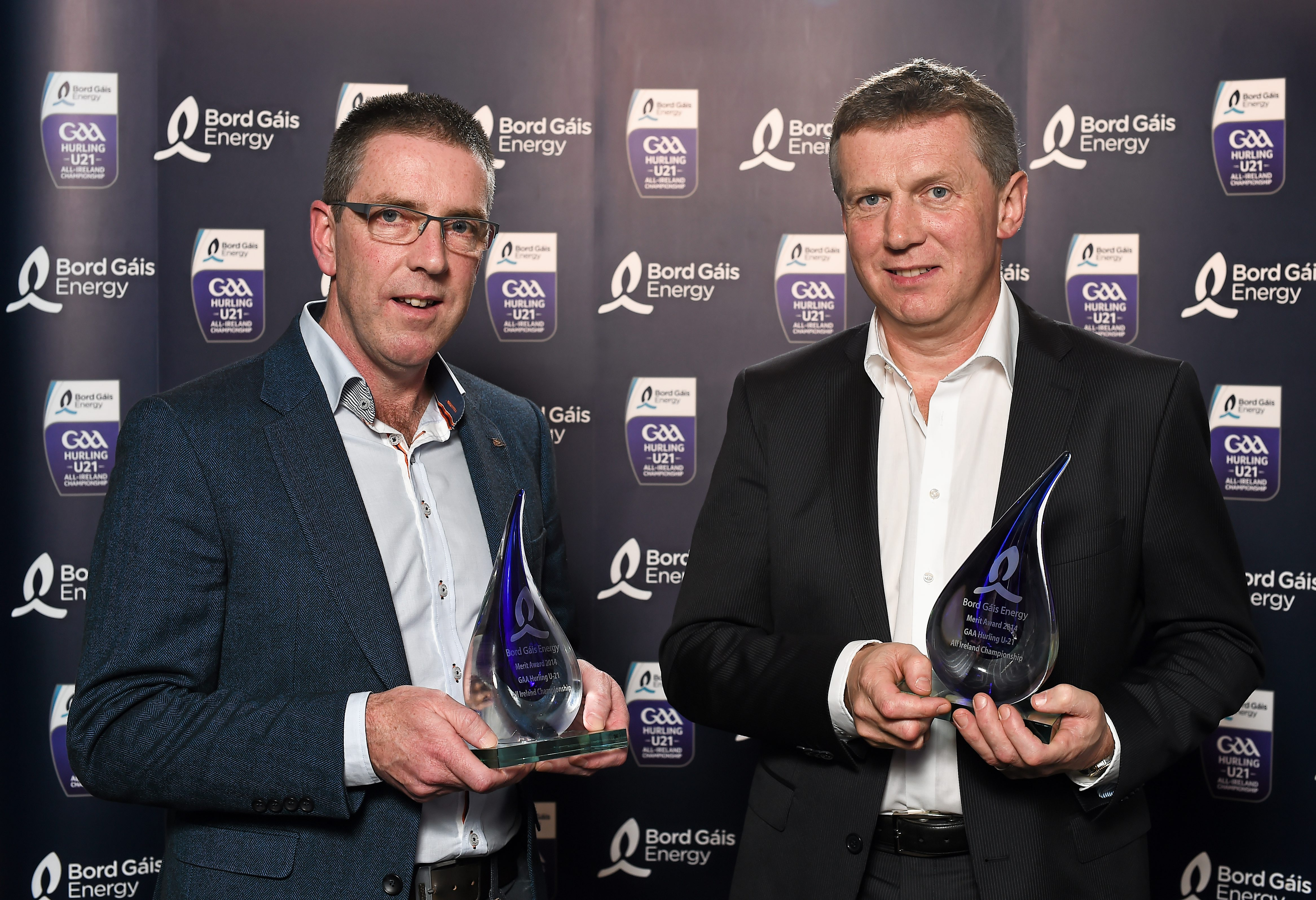 Clare Under 21 joint managers Gerry O'Connor, left, and Donal Moloney, who received a merit award. Bord Gáis Energy All-Ireland GAA Hurling Under 21 Team of the Year Awards, Croke Park, Dublin. Picture credit: Paul Mohan / SPORTSFILE