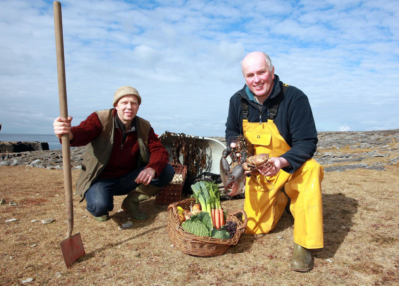 Jason Horner, organic vegetable farmer from Crusheen (Leen Organics) and Gerry Sweeney, Newquay fisherman and owner of Burren Seafoods. Photograph Yvonne Vaughan.