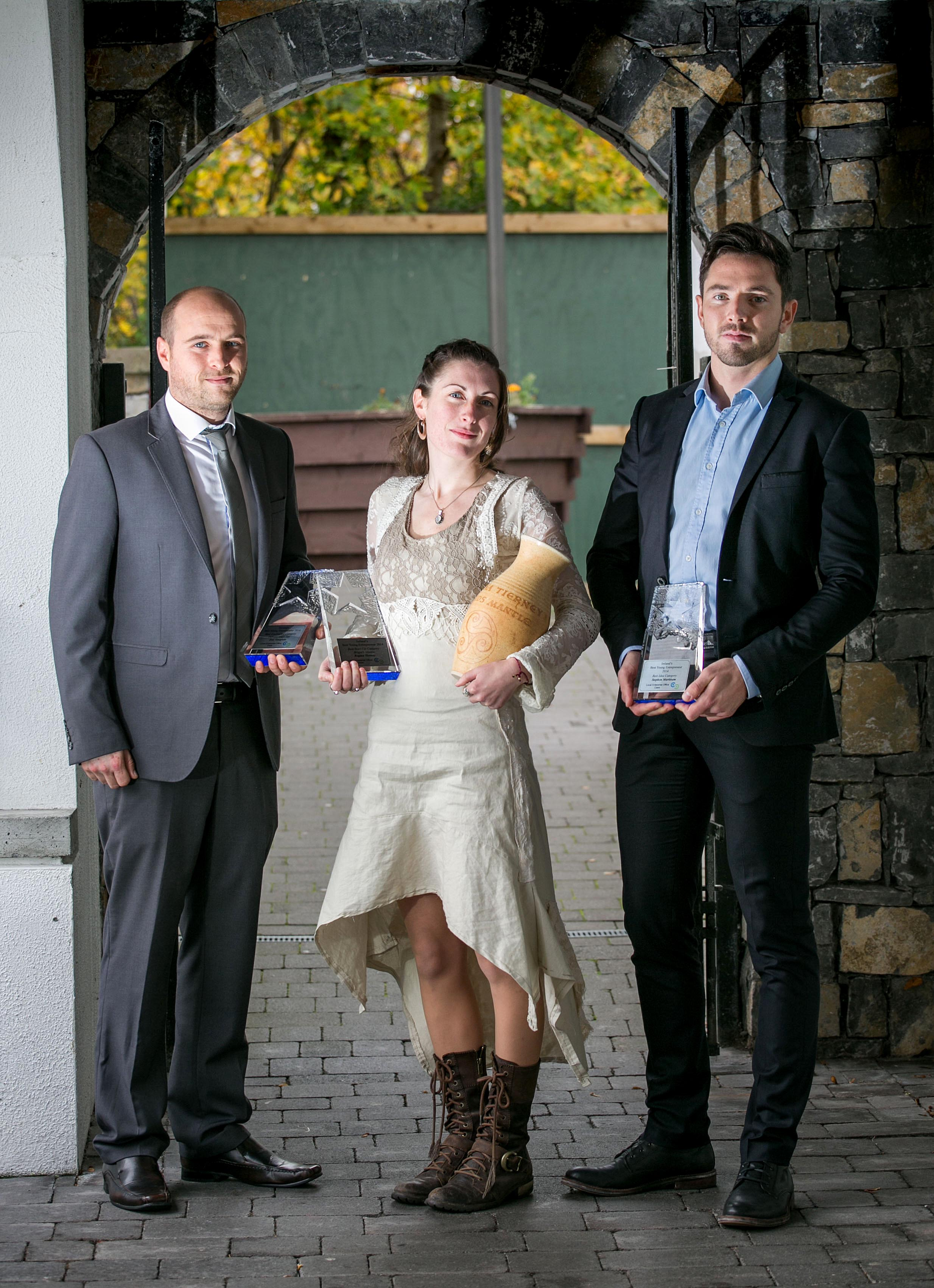 Pictured with her awards in Ennis Co Clare are L-R Eric Gargiulo of Delivery Guys Ltd. - an end to end ordering, payment and delivery service to the restaurant sector  - received €20,000 for winning 'Best Established Business (in business more than 18 months)',  Regina Tierney, Overall Winner of the 'Best Start-Up Business 'category of the competition and Steve Markham of hAppie - a boutique mobile application developer and publisher - was awarded €10,000 for winning the 'Best Idea (for a new business)' category. Pic Arthur Ellis.