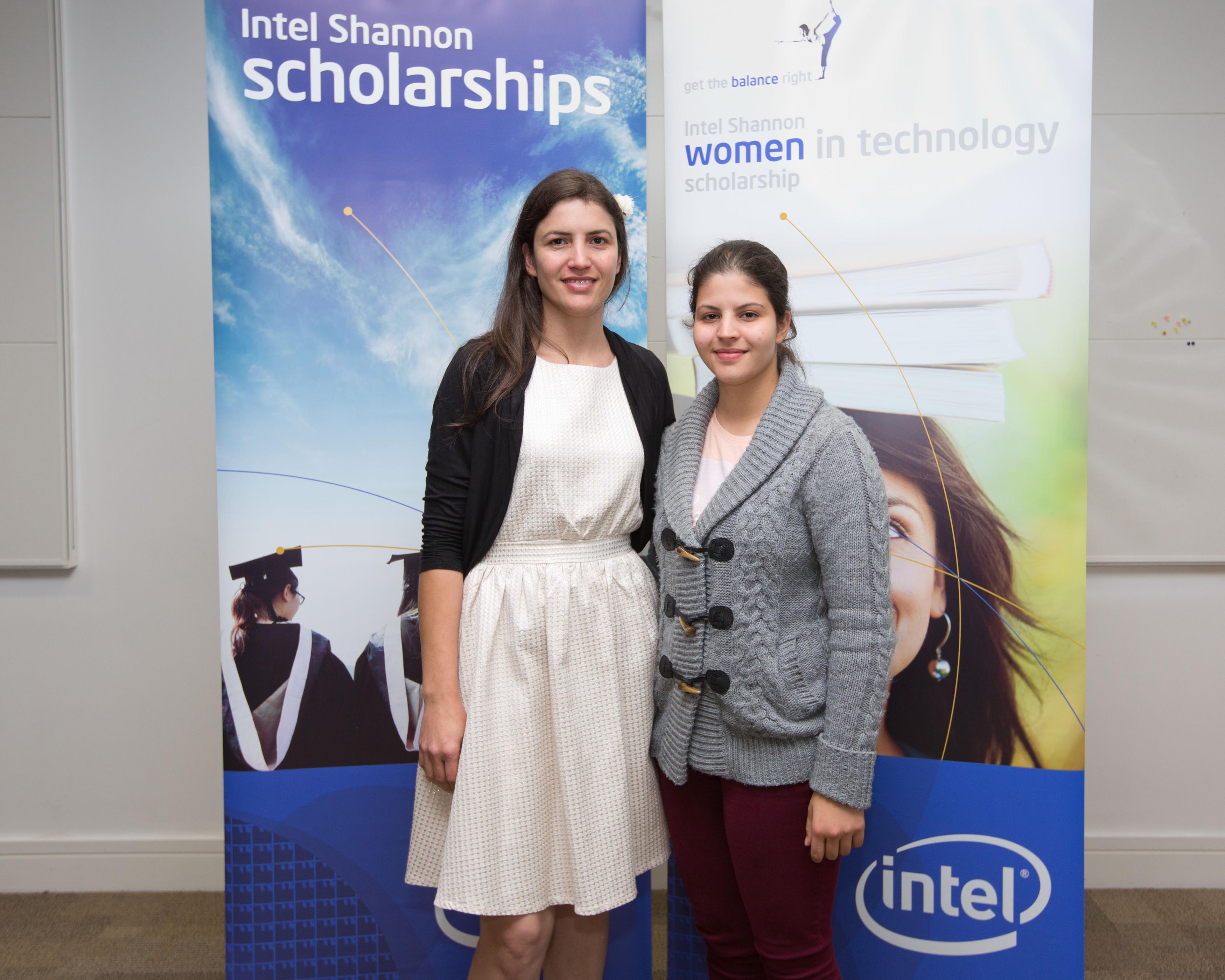 Cristiane Rosa and Thaynara de Silva at Intel ninth ÒWomen in TechnologyÓ award ceremony held at Intel in Shannon. Intel in Shannon continued its focus on promoting science and engineering in the local area by holding its ninth annual Women in Technology (WIT) award ceremony recently. Five new scholarships were awarded, while seven other scholars renewed their scholarships by merit of their academic results. Current award recipients are from Clare, Limerick and Cork and are attending University of Limerick, Limerick Institute of Technology, University College Cork, NUI Galway, and Cork Institute of Technology, to study technology focused courses such as Electronic and Computer Engineering and Computer Science. Intel Shannon also awarded scholarships to a number of young male scholars starting technology and engineering courses in the University of Limerick as part of the Paul Whelan memorial scholarship program. The scholarship programs provide a unique opportunity for Intel to encourage a new generation of high-achieving young people to take up the challenge of a career in science and technology. Over the nine years since the program was first initiated, Intel Shannon has invested almost $500,000 in scholarships and placement programs. Pic Sean Curtin Photo.