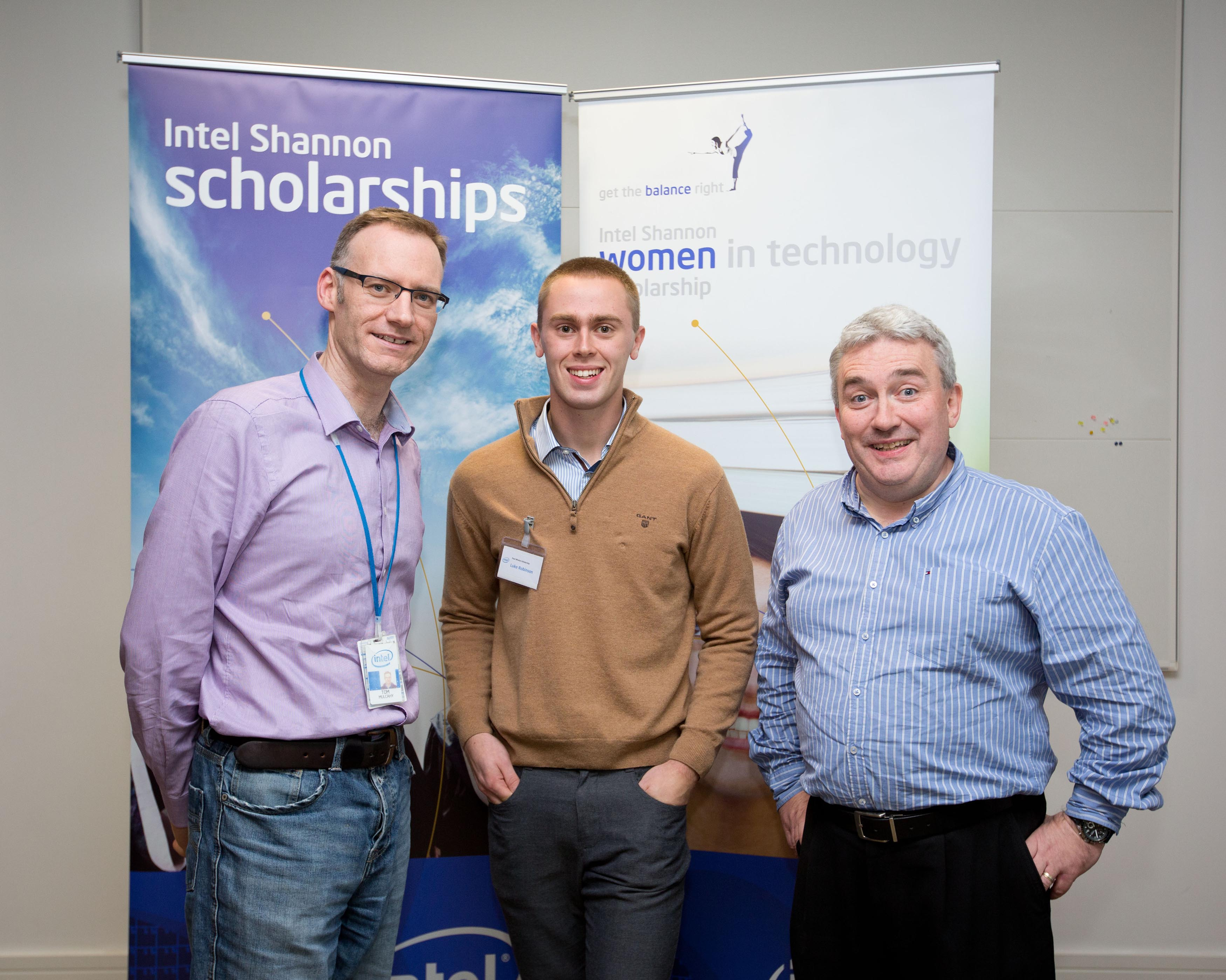 Tom Mulcahy, Intel, Luke Robinson and Michael Hennessey at Intel ninth ÒWomen in TechnologyÓ award ceremony held at Intel in Shannon. Intel in Shannon continued its focus on promoting science and engineering in the local area by holding its ninth annual Women in Technology (WIT) award ceremony recently. Five new scholarships were awarded, while seven other scholars renewed their scholarships by merit of their academic results. Current award recipients are from Clare, Limerick and Cork and are attending University of Limerick, Limerick Institute of Technology, University College Cork, NUI Galway, and Cork Institute of Technology, to study technology focused courses such as Electronic and Computer Engineering and Computer Science. Intel Shannon also awarded scholarships to a number of young male scholars starting technology and engineering courses in the University of Limerick as part of the Paul Whelan memorial scholarship program. The scholarship programs provide a unique opportunity for Intel to encourage a new generation of high-achieving young people to take up the challenge of a career in science and technology. Over the nine years since the program was first initiated, Intel Shannon has invested almost $500,000 in scholarships and placement programs. Pic Sean Curtin Photo.