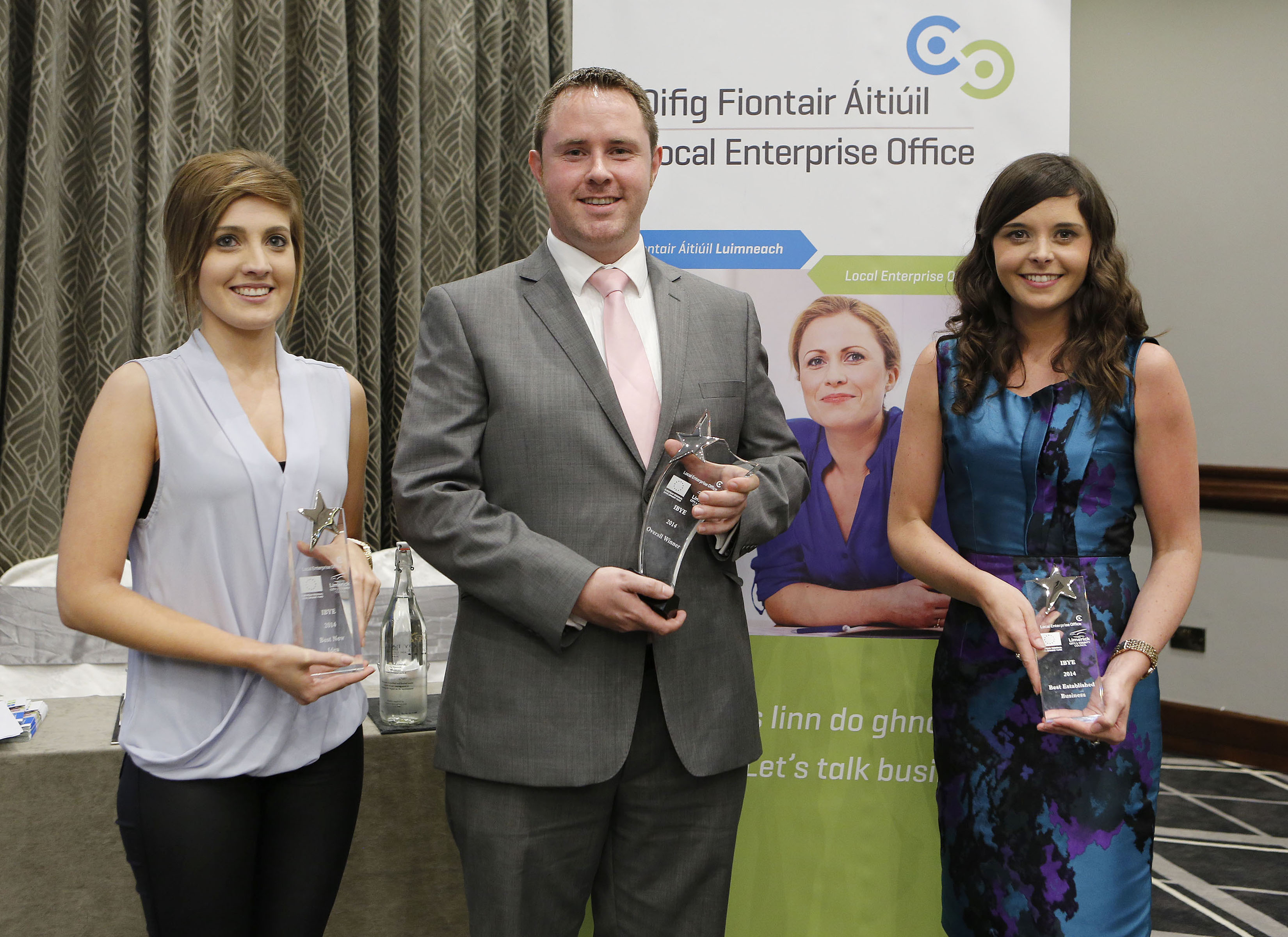 Pictured are Aislinn O'Flynn of Sensomi, Dr. Paddy Finn of Electricity Exchange, Aisling Maher of Aisling Maher Fashion Designs