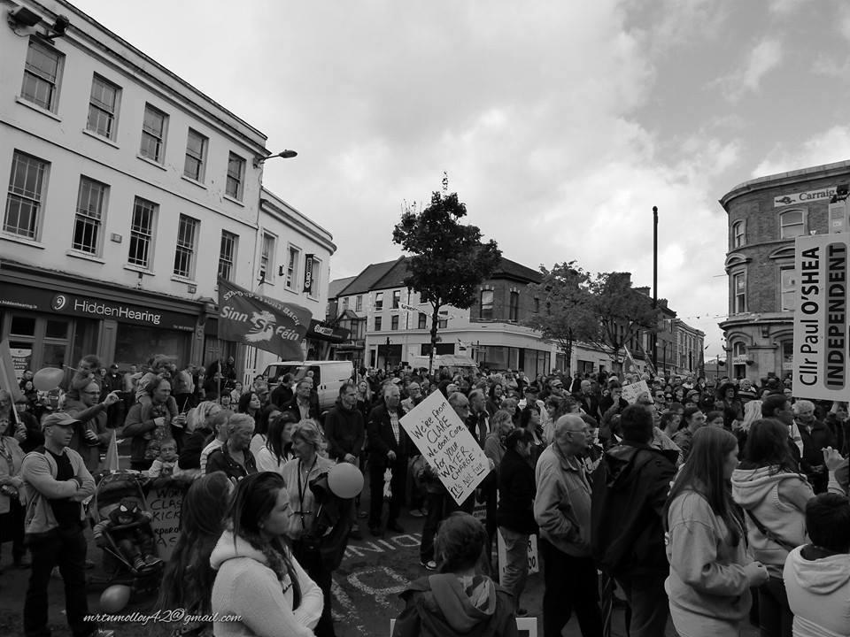 Protestors gather in O'Connell Square, Ennis. Phto Martin Molloy