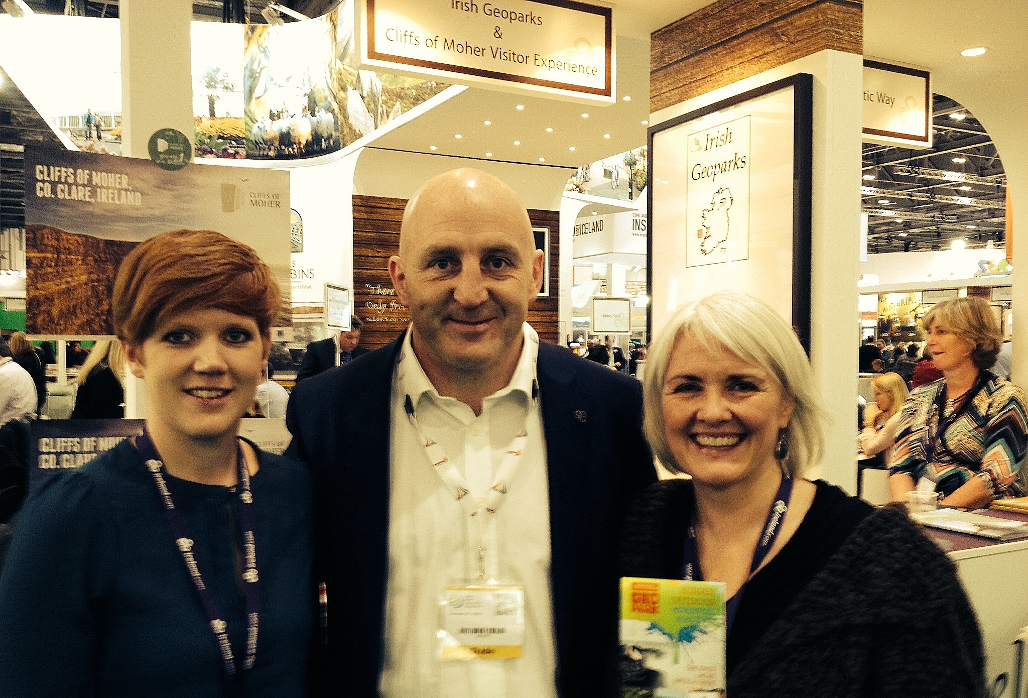 Former Munster, Ireland and Lions rugby star Keith Wood from Killaloe this week joined Kelly Humphries (left) and Carol Gleeson (right) of the Burren and Cliffs of Moher Geopark at the World Travel Market (WTM) in London.
