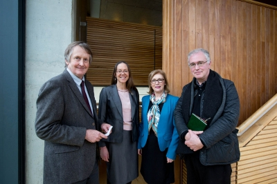Professor Tom Lodge, Dean Faculty of Arts, Humanities and Social Sciences; Professor Margaret Mills Harper, the Glucksman Chair in Contemporary Writing, Minister for Education, Jan O'Sullivan TD and Professor Joseph O'Connor, the Frank McCourt Chair in Creative Writing