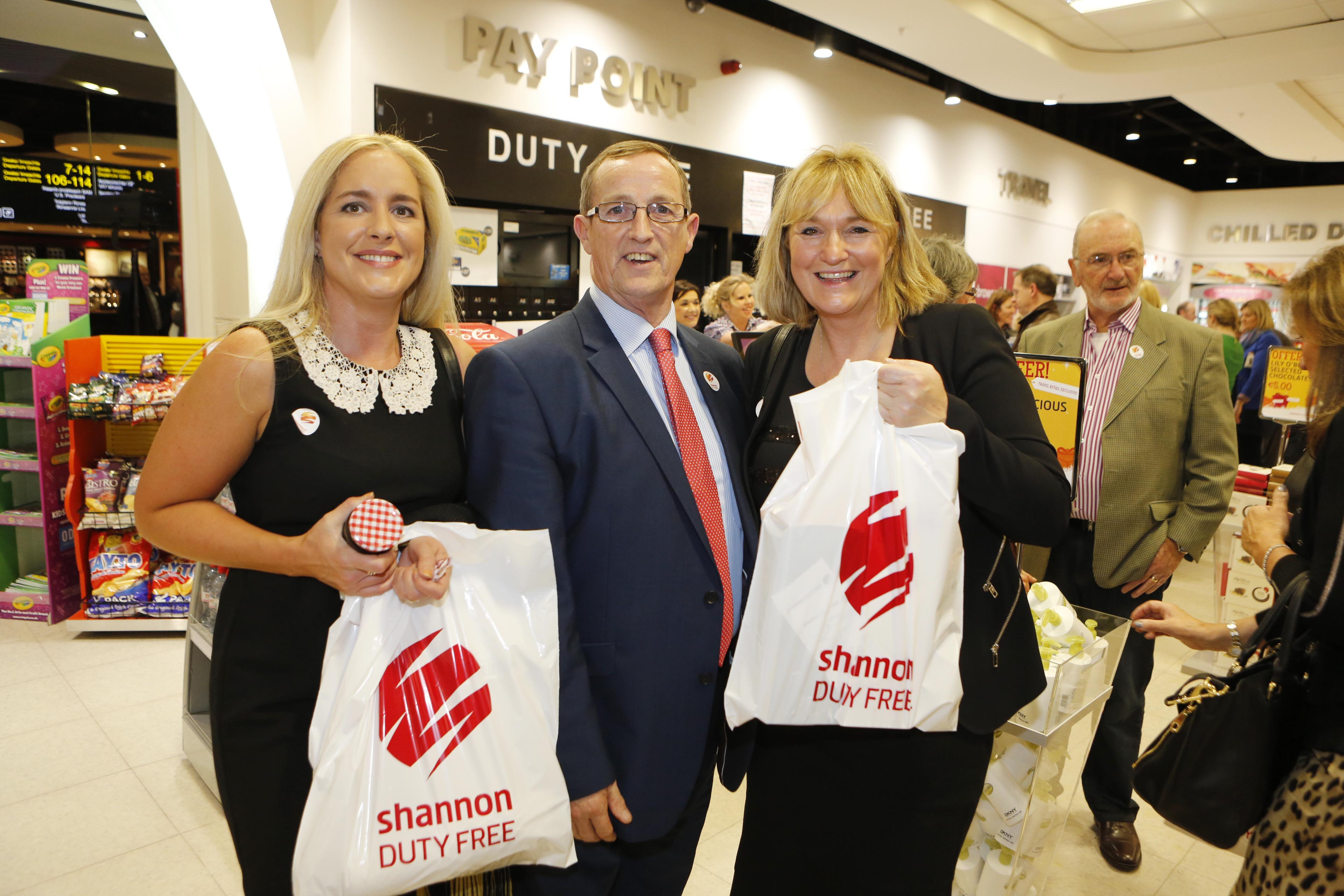 Pictured at the relaunch of Shannon Duty Free were Cleo and Bobby Power with Sandra Light. Pic: Don Moloney/ Press 22