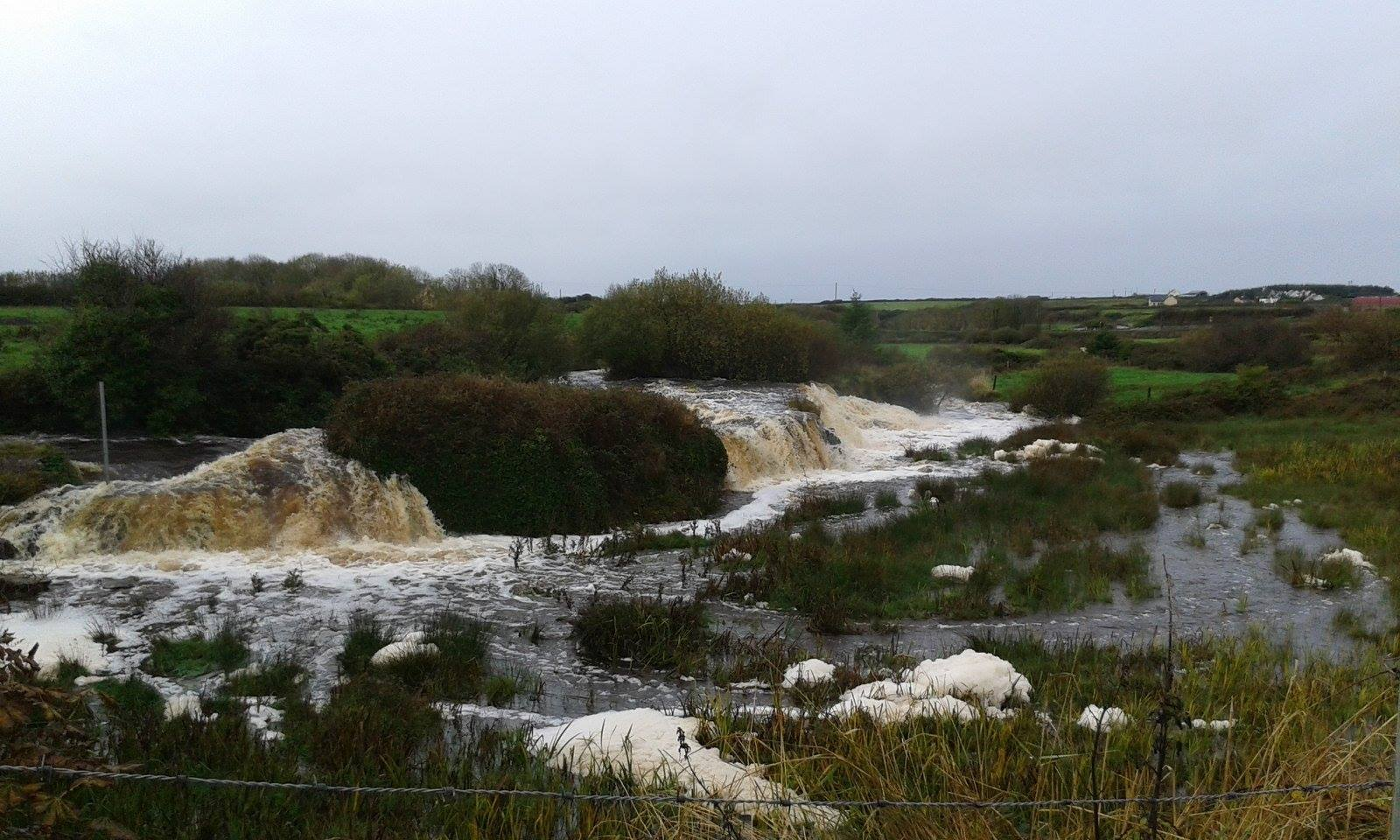 The Annageeragh River, near Quilty in County Clare, following recent heavy rain. Photo Sarah Hassall