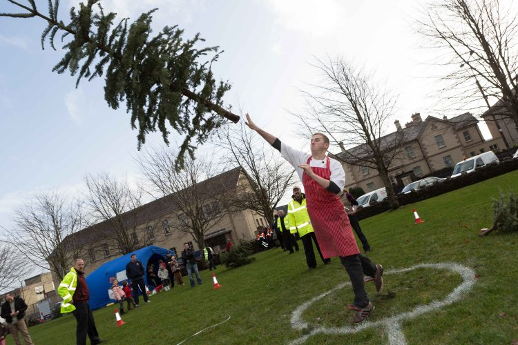 Steven Lyons, Ennis taking part in the 3rd annual Christmas Tree throwing Championships in Aid of Cystic Fibrosis at Tim Smyth Park, Ennis. Photograph by Eamon Ward