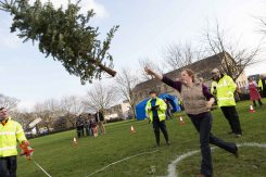 Audrey O'Neill, Ennis taking part in the 3rd annual Christmas Tree throwing Championships in Aid of Cystic Fibrosis at Tim Smyth Park, Ennis. Photograph by Eamon Ward