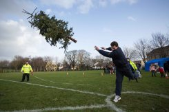 Paul Nihil, Ennis taking part in the 3rd annual Christmas Tree throwing Championships in Aid of Cystic Fibrosis at Tim Smyth Park, Ennis. Photograph by Eamon Ward