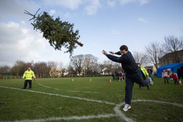 Paul Nihil, Ennis taking part in the 3rd annual Christmas Tree throwing Championships. Photograph by Eamon Ward