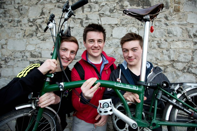 Kevin Dunne, Stephen Johnson and Jordan Kelly from the University of Limerick at the National Transport Authority's prize giving event for Limerick entrants to the Student Cycling Challenge hosted by Limerick Smarter Travel. Photo Sean Curtin