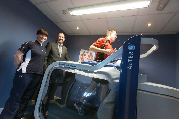 John Carey, Gym Manager along with Tim Forde , General manager and Anne-Marie Kinsella, Chartered Physio Therapist demonstrating the new anti-gravity AlterG treadmill at Active Ennis Leisure complex this week. Photograph by Eamon Ward