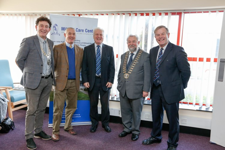 Cllr Johnny Flynn, Mayor of Ennis; Bobby Roche, chairman of the Board of Milford Care Centre; Finbar Brougham, Milford; Cllr John Crowe, Mayor of Clare, and Pat Quinlan, CEO, Milford Care Centre.