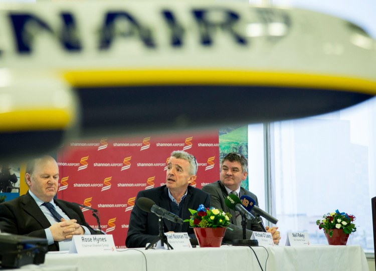 Minister for Finance, Michael Noonan TD, Ryanair CEO Michael O'Leary and Neil Pakey, CEO Shannon Group pictured during a recent press conference. Picture: Alan Place.