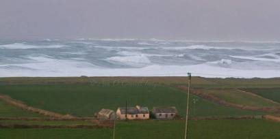 The scene in West Clare as a large swell resulted in 10-11 metre high waves. Photo Ann O'Connell Images